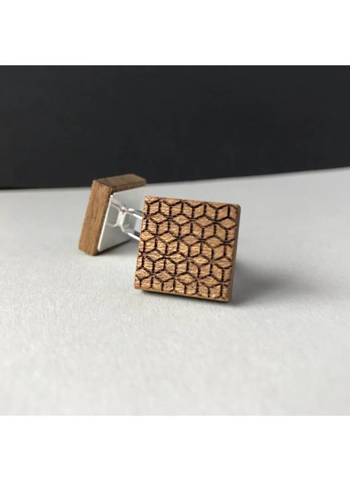 Manschettenknöpfe Holz & Edelstahl 'New Geometry'