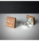 Manschettenknöpfe Holz & Edelstahl 'Minimalism Square'