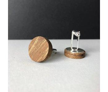 Manschettenknöpfe Holz & Edelstahl 'Minimalism Perfectly Round'