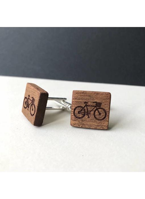 Bewoodz Manschettenknöpfe Holz 'Urban Cycling Square'