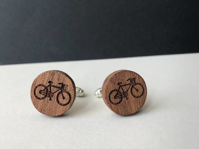 Bewoodz Manschettenknöpfe Holz 'Urban Cycling Round'