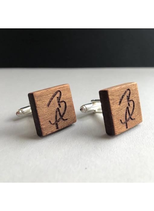 Manschettenknöpfe Holz 'Initialen'