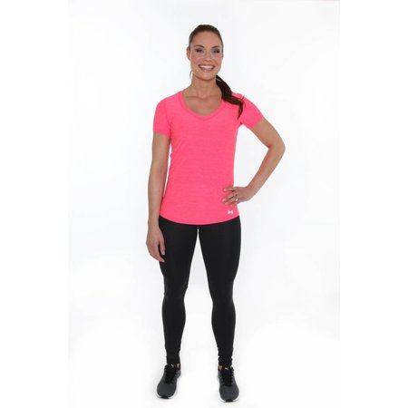 Under Armour Ladies Running Pace Tee Shirt Perfectly Pink
