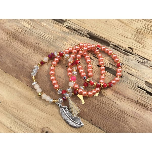 Colombianas - colorful handmade bracelets ROSE SET