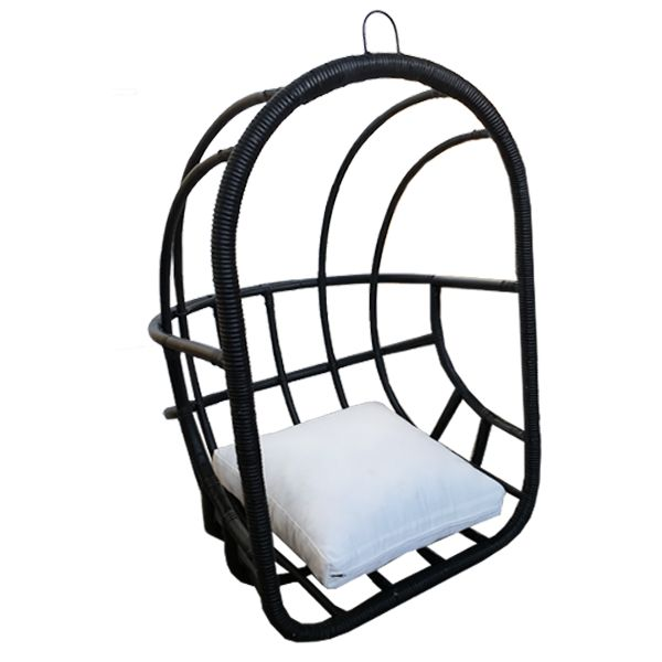 Houss Living Hangstoel Rotan Zwart - 79x79xH119 cm