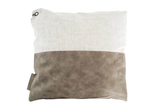 Zusss Kussen linnen met leer groen grijs - 45xH45 cm