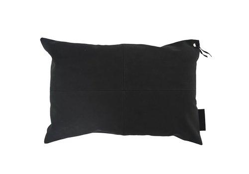 Zusss Kussen leer zwart - 60xH40 cm