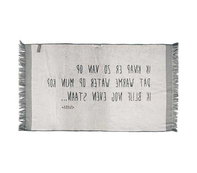 Badhanddoek tekst antracietgrijs - 60x115 cm