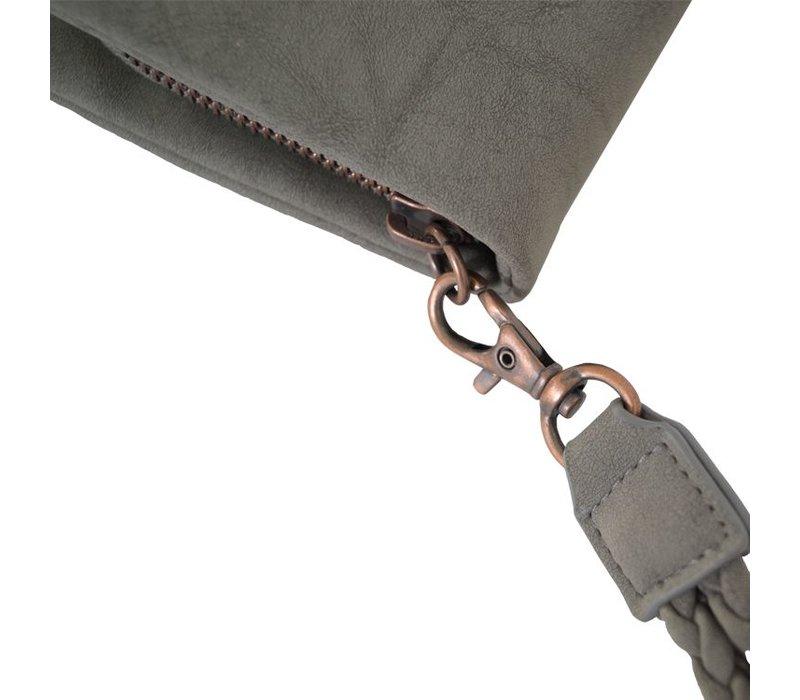 Luxe portemonnee middengrijs - 11,5x21 cm