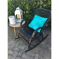 Kussen Patchwork Turquoise Leder - 45xH45 cm