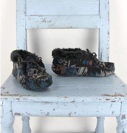 Ruby Brown slof zwart/turquoise