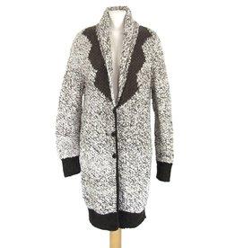 Inti Knitwear lang vest creme/bruin