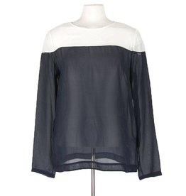 Vintage 55 blouse zijde creme/blauw