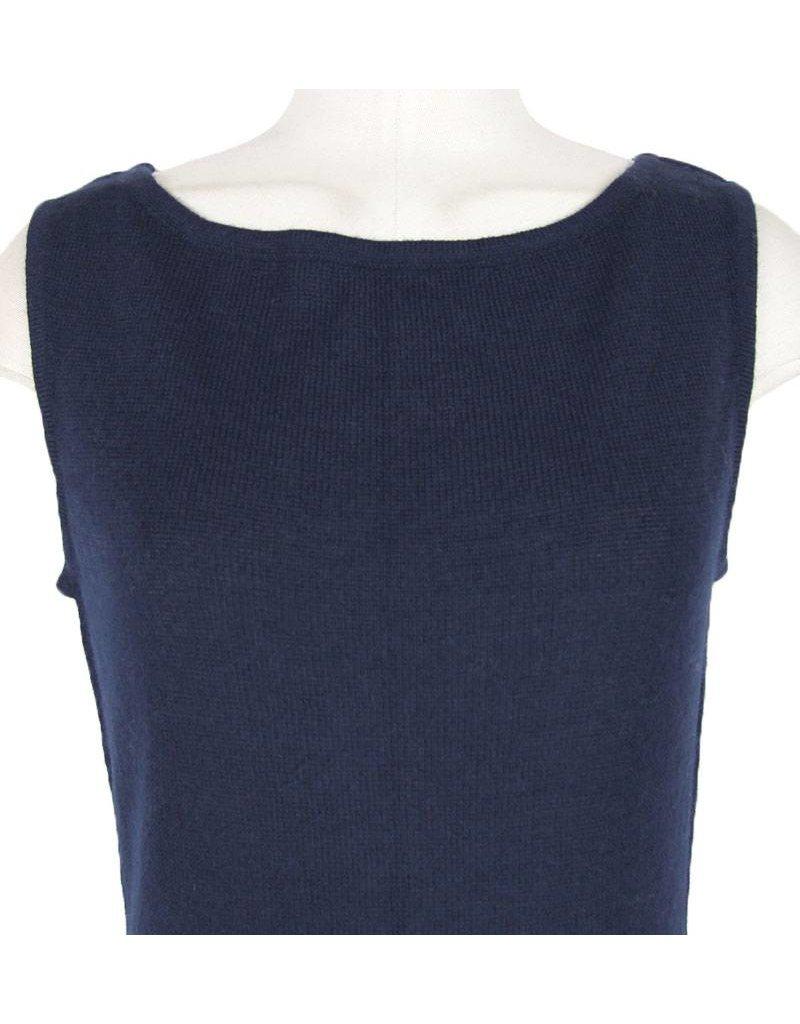 Anna-Q donkerblauwe gebreide jurk Ynez