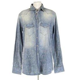 Aglini blauwe blouse witte bloemen