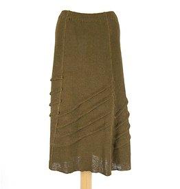 Zuza Bart groen/bruine gebreide rok linnen
