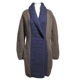 Inti Knitwear lang vest taupe met blauw
