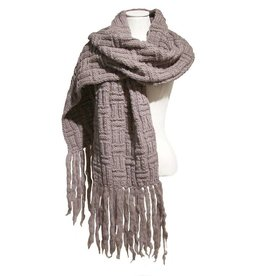 Inti Knitwear taupe sjaal geblokt