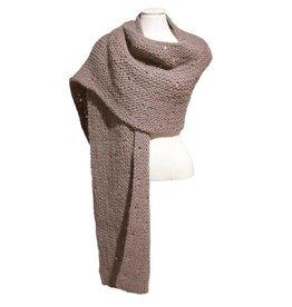 Inti Knitwear taupe brede sjaal