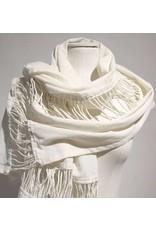 Zuza Bart creme sjaal met touwtjes