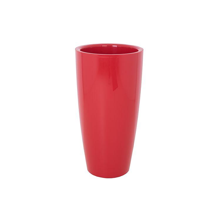 Ikala Rode hoogglans bloempot 'High Round' H65 | Ook binnen