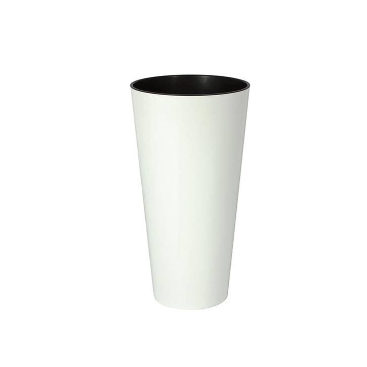 Ikala Hoge witte kunststof plantenbak Glossy H76