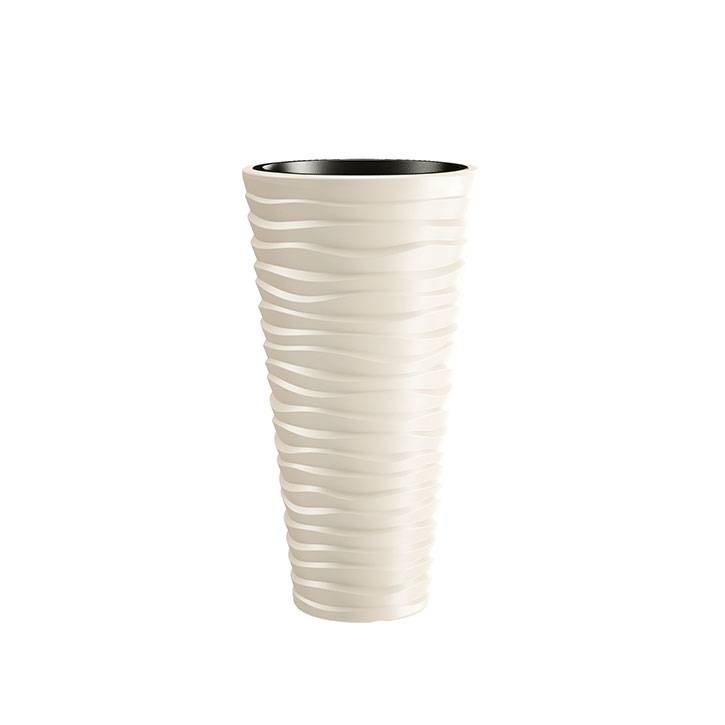 Ikala Hoge crèmewitte design bloempot 'Wave' H75