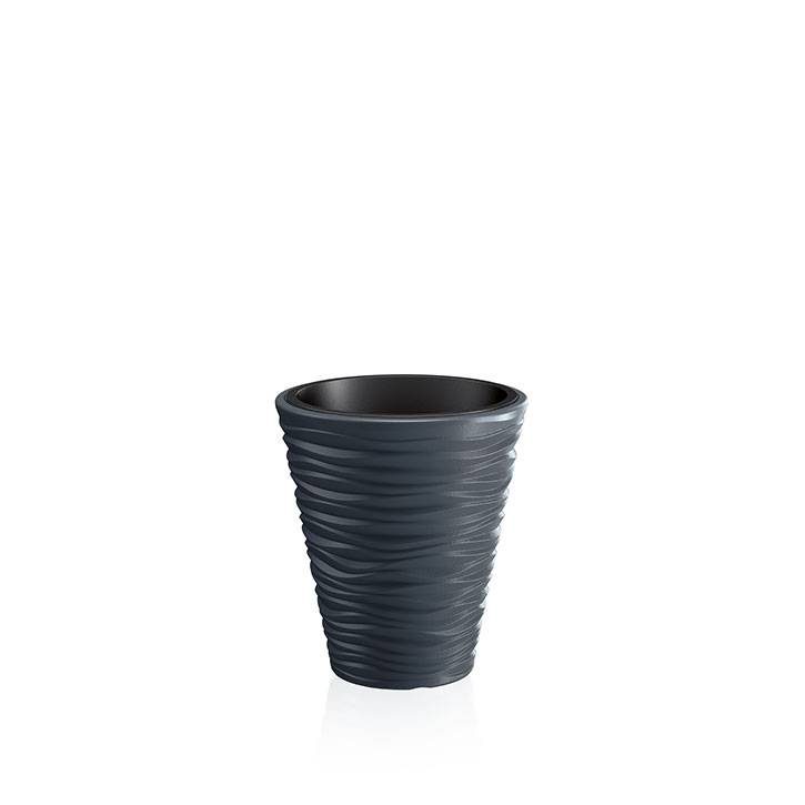 Ikala Antraciet grijze design plantenbak 'Wave' H44