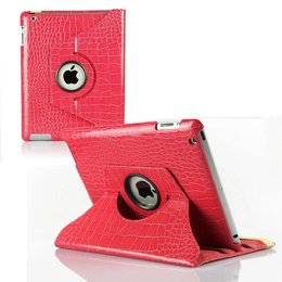 Apple iPad 360 Rotating Case Croco Donker Roze