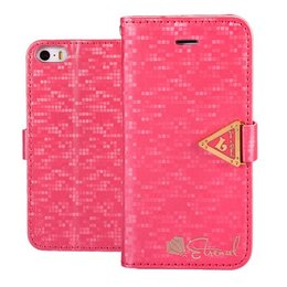 Leiers Eternal Luxe Wallet Case Portemonnee Donker Roze iPhone 5 / 5S / SE