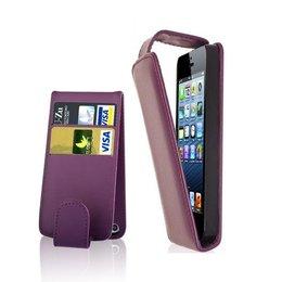 Verticaal Flip Portemonnee Case Paars iPhone 5 / 5S / SE