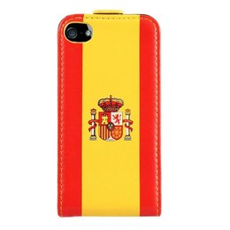 Faux Flip Case Spanje Vlag iPhone 5 / 5S / SE