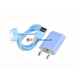 2 in 1 30 Pins Kabel USB Lader iPhone 4/4S Blauw