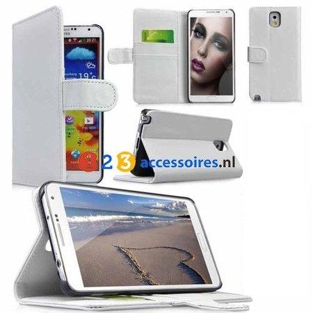 Samsung Galaxy Note 3 N9000/N9005 Wallet Case Portemonee - Wit