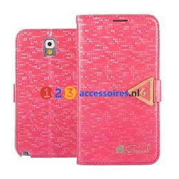 Leiers Eternal Galaxy Note 3 N9000/N9005 Cover Case Portemonnee Donker Roze