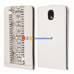 Galaxy Note 3 Strass-Accenten Flip Case Cover Wit