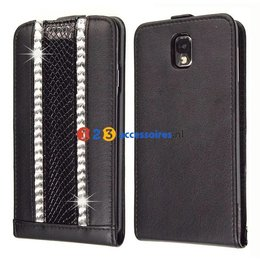 Galaxy Note 3 Strass-Accenten Flip Case Cover Zwart