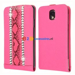 Galaxy Note 3 Strass-Accenten Flip Case Cover Roze