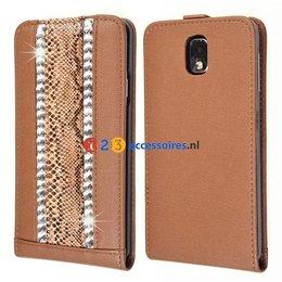 Galaxy Note 3 Strass-Accenten Flip Case Cover Bruin
