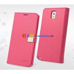 DER Ailun Galaxy Note 3 Luxe Wallet Case Portemonnee - Donker Roze
