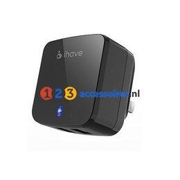 iHave Dual USB Lader 3.4A EU + UK Plug Zwart