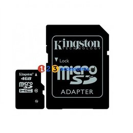 Kingston 4GB microSDHC kaart Class 4 met adapter
