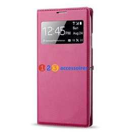 S-View Lederen Flip Cover Galaxy S4 - Hot Pink