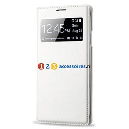 S-View Lederen Flip Cover Galaxy S4 - Wit