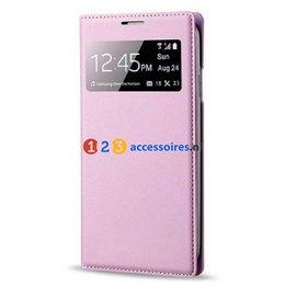 S-View Lederen Flip Cover Galaxy S4 - Licht Roze