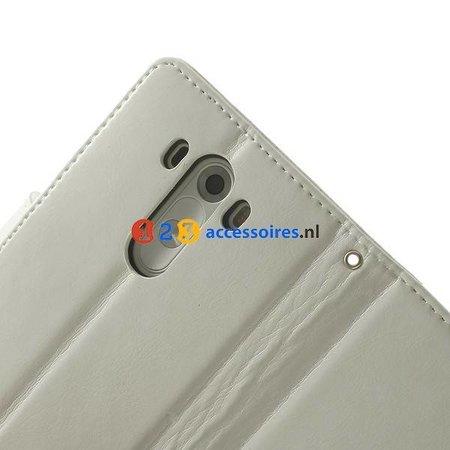 LG G3 Wit Wallet Portemonnee Hoesje