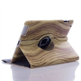 Apple iPad 360 Rotating Case Wood Style Licht Bruin