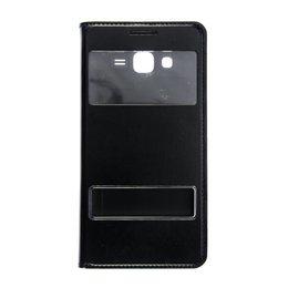 Dual S-View Lederen Flip Cover Galaxy Grand Prime Zwart