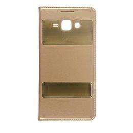 Dual S-View Lederen Flip Cover Galaxy Grand Prime Goud