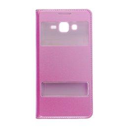 Dual S-View Lederen Flip Cover Galaxy Grand Prime Licht Roze